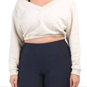 Reebok Fleece Crop Top Long Sleeve Size 4X